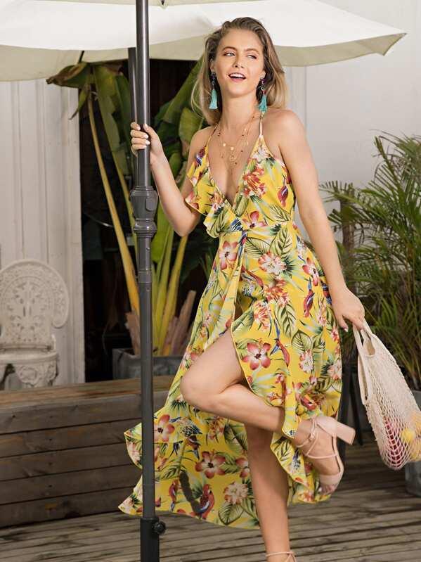 Floral Print Ruffle Trim Asymmetrical Hem Dress, null