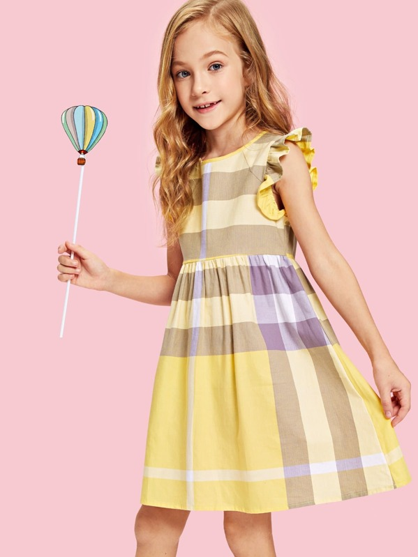 Girls Ruffle Sleeve Zip Back Striped Dress