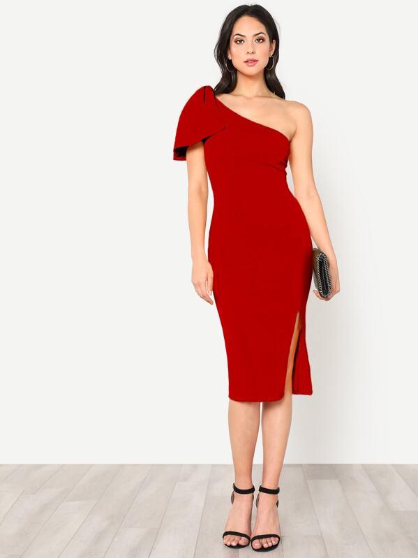 Exaggerate Bow One Shoulder Slit Dress, Christen Harper