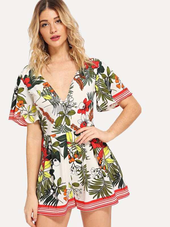 V-Neck Tropical Print Jumpsuit