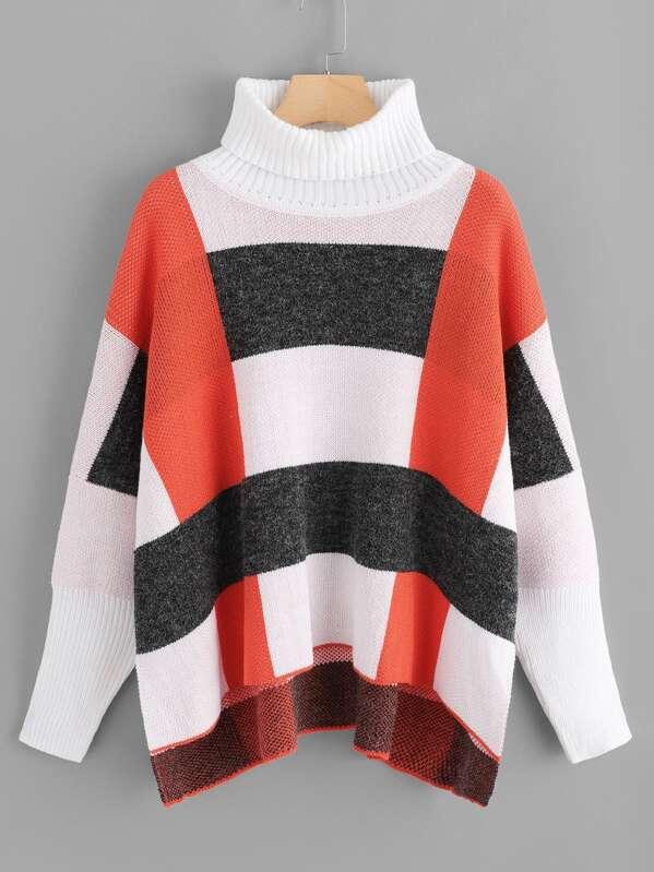 Turtleneck Drop Shoulder Cut and Sew Sweater