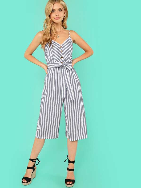 Button Accent Wide Leg Belted Cami Jumpsuit, Marina Laswick