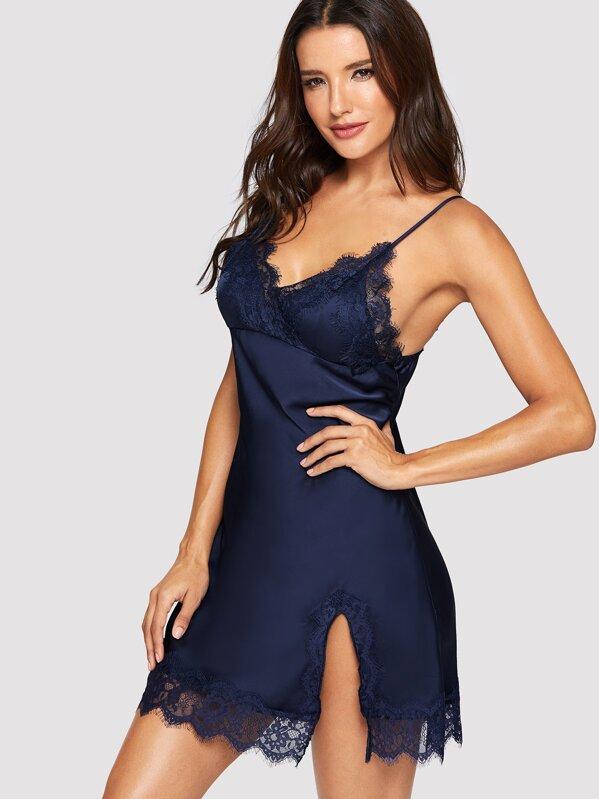 Contrast Lace Split Side Cami Dress, Juliana