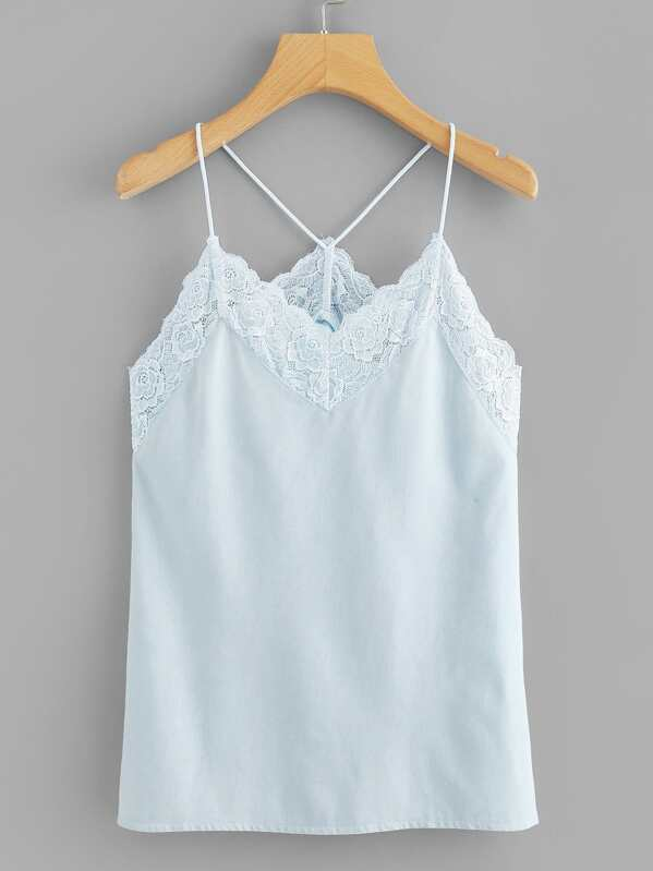 Plus Lace Contrast Denim Cami Top, null