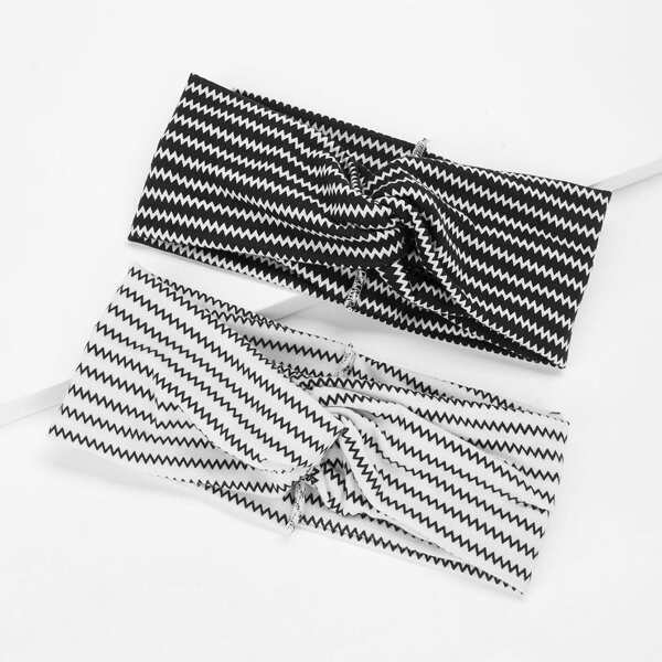 Zigzag Print Twist Headband 2pcs, Black and white