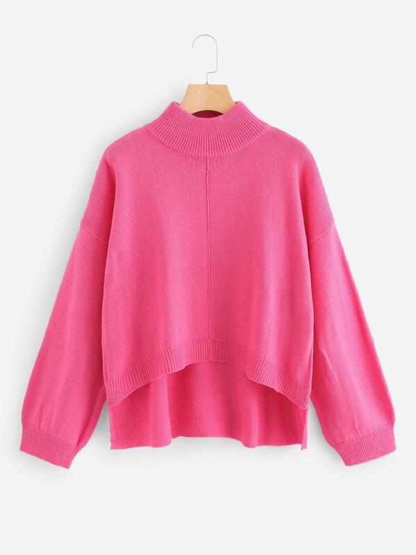 Neon Pink Stepped Hem Solid Sweater, null