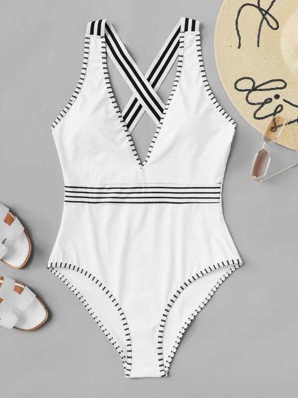 Plus Criss Cross Contrast Trim One Piece Swimsuit, null