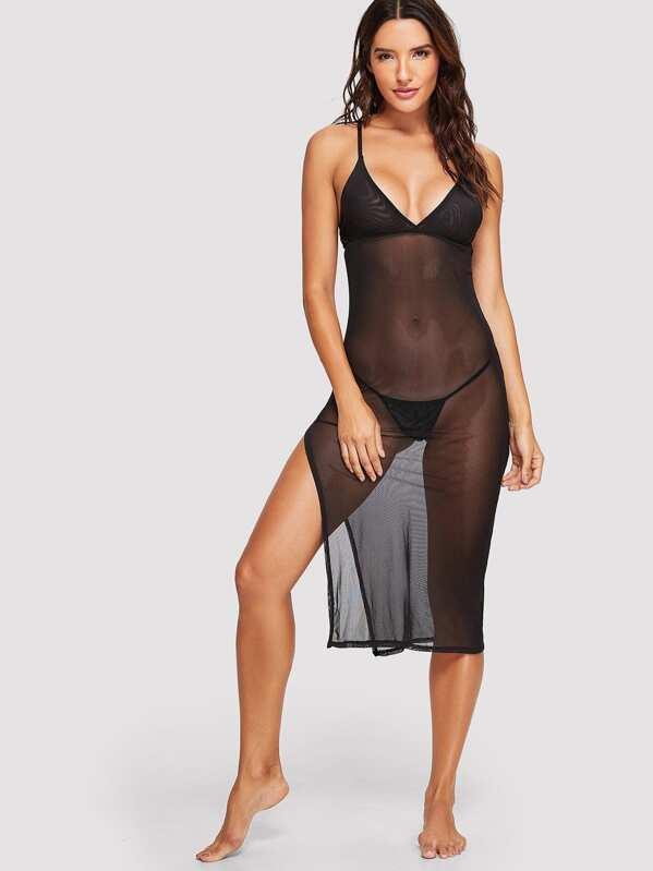 Split Mesh Dress With Thong, Juliana