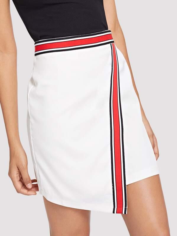Контрастная ленточная оберточная юбка