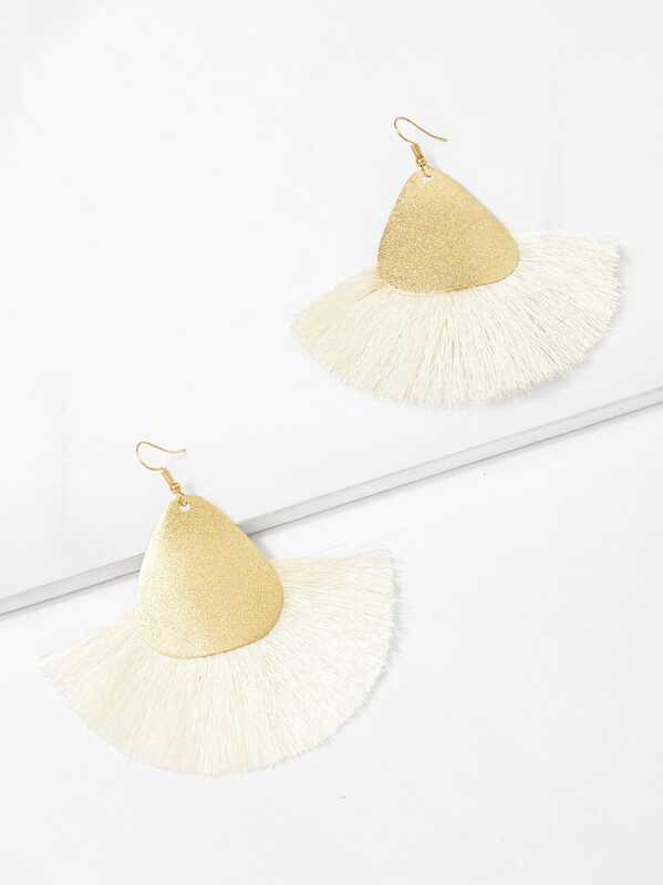 Two Tone Tassel Drop Earrings 1pair