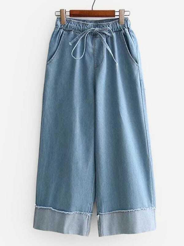 Roll Up Hem Drawstring Wide Leg Jeans, null