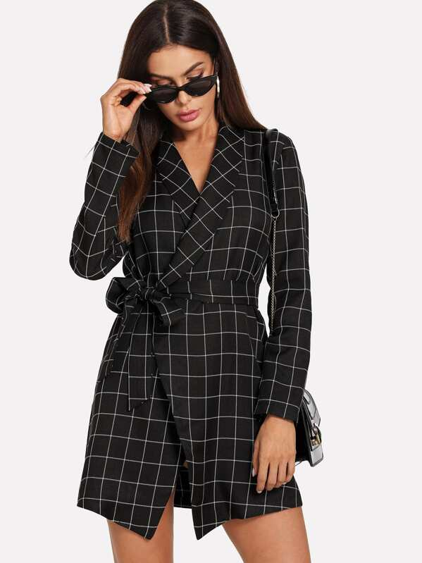 Shawl Collar Self Tie Wrap Grid Coat, Andy