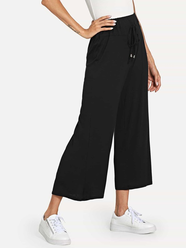 Solid Drawstring Waist Wide Leg Pants, Andy