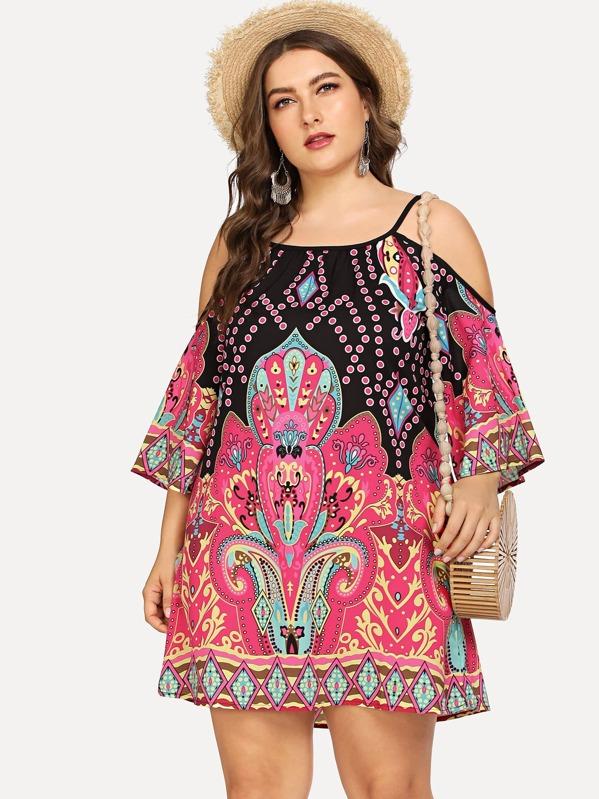 Plus Cold Shoulder Print Tribal Dress, Franziska