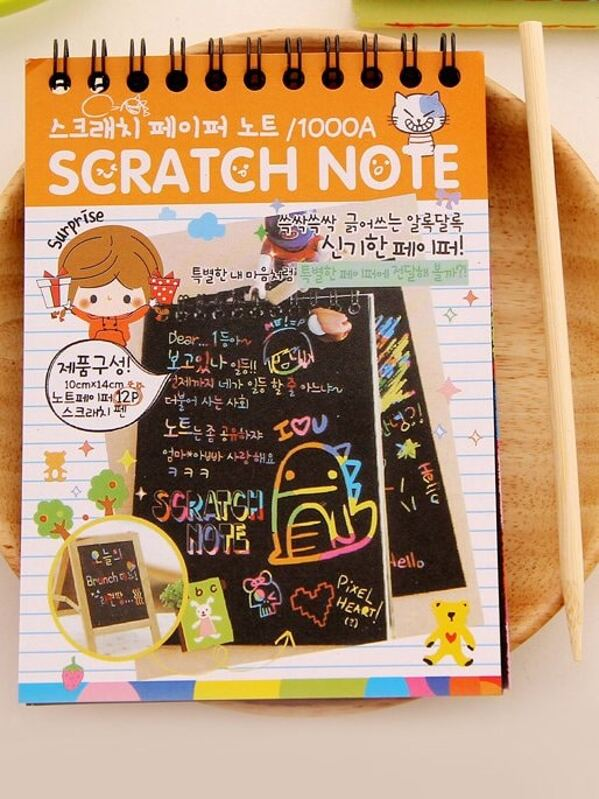 Scratch Note 12sheets With Wooden Pen, null