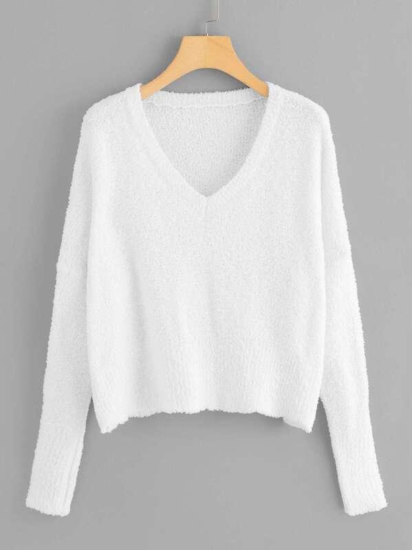 Drop Shoulder Solid Fuzzy Sweater