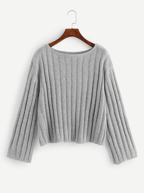 Ribbed Knit Heatered Jumper