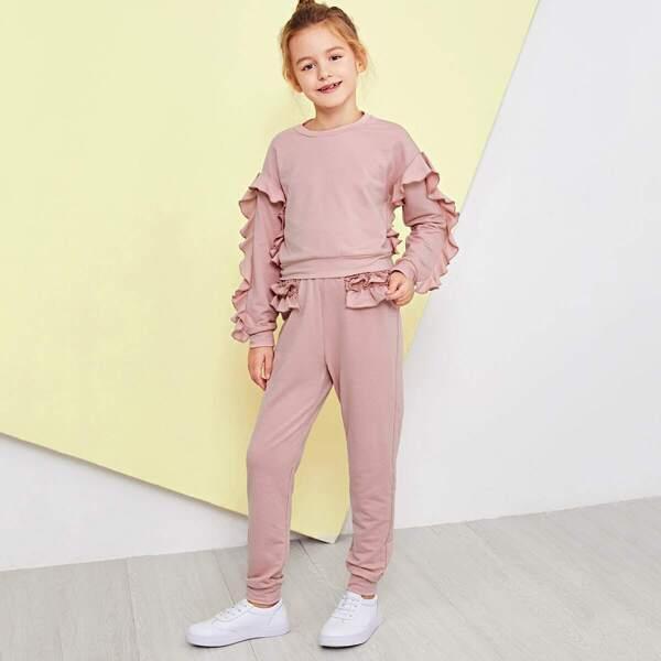 Girls Ruffle Trim Top & Pants Set, Pink
