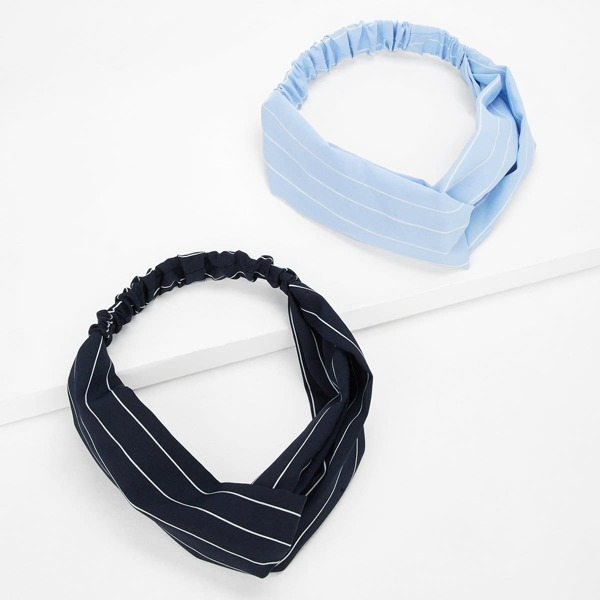 Striped Twist Headband 2pcs, Multicolor