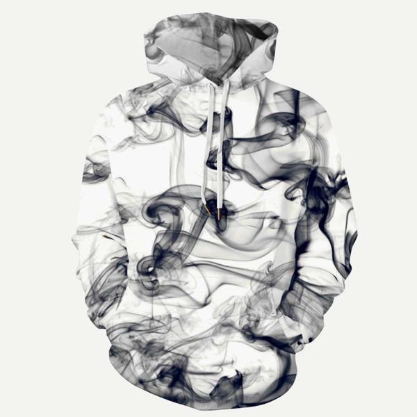 Men 3D Abstract Smoke Print Hooded Sweatshirt, Black and white