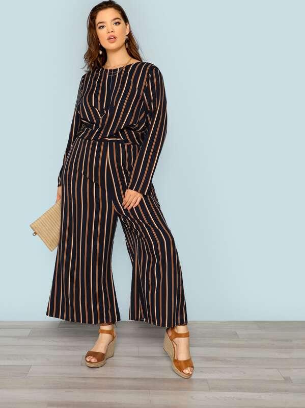 Plus Cross Wrap Front Striped Jumpsuit, Faith Bowman