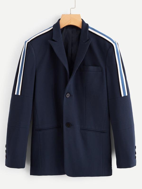 Men Single Breasted Striped Side Blazer