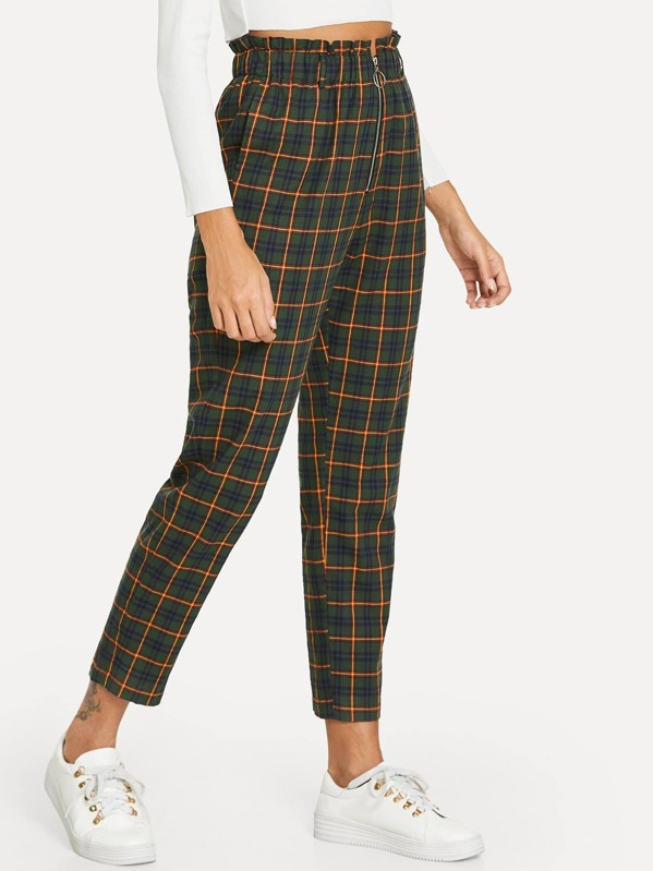 Exposed Zip Fly Plaid Peg Pants, Giulia