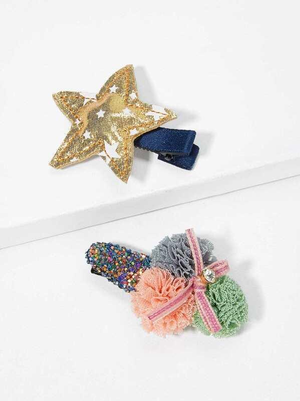 Pom Pom Заколка для волос и с украшением звезды 2 шт для девочки