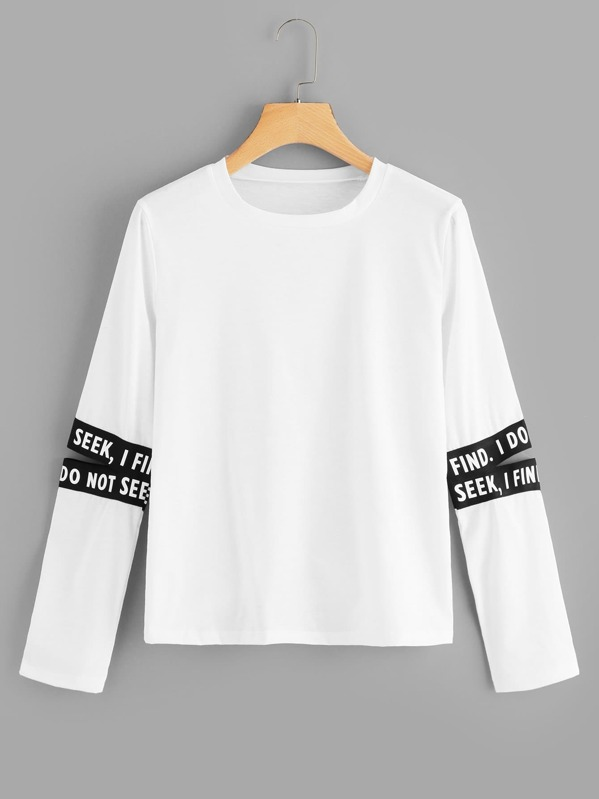 Cut Out Random Letter Tape Sleeve Tee, null