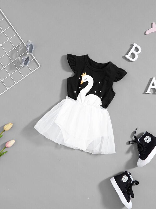 Прозрачное платье с принтом лебедь, null