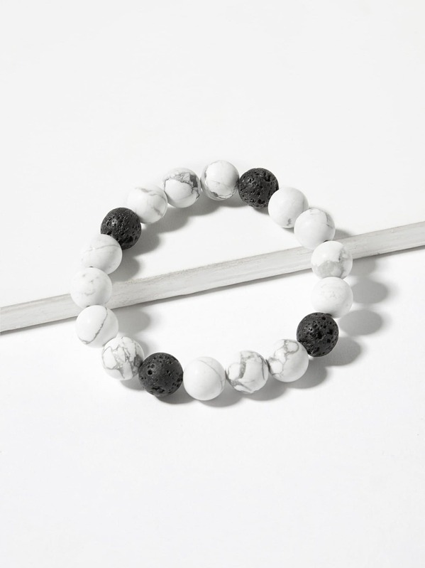Two Tone Marble Pattern Beaded Bracelet 1pc, null