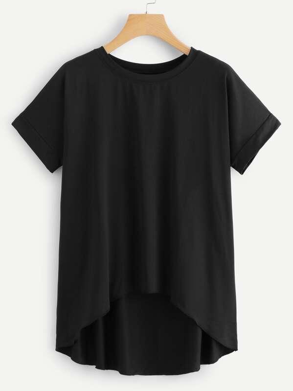 Plain Dip Hem T-shirt, null