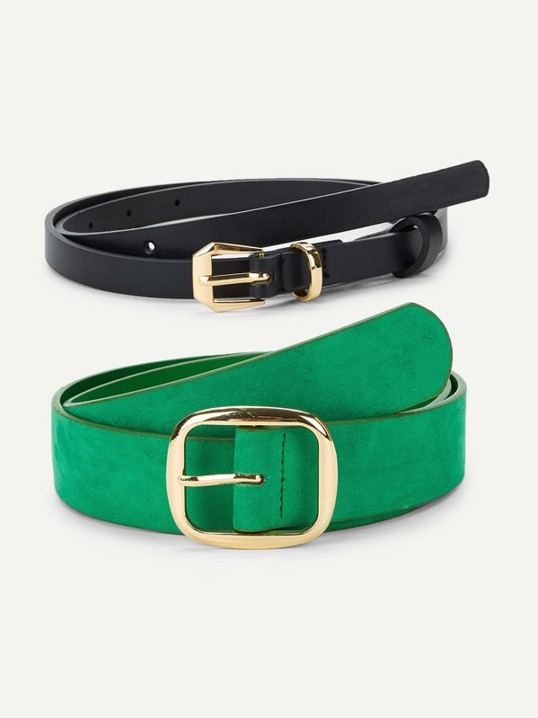 Metal Buckle Belt 2pcs, null