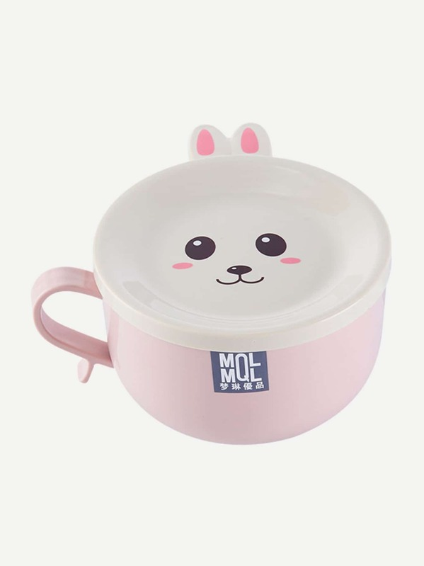 Cartoon Print Stainless Steel Bowl With Lid