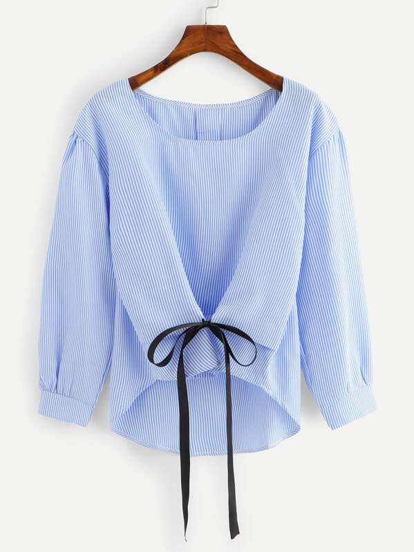 Knot Front Striped Dip Hem Blouse, null