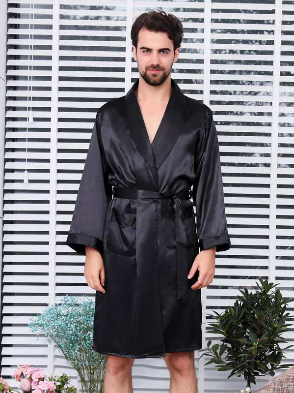 Men Solid Self Belted Robe, null