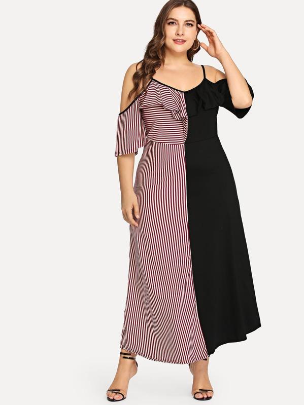 Plus Cut and Sew Flounce Cold Shoulder Dress, Franziska