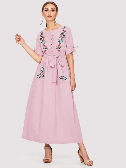 450299d86aea0 التطريز وردي ملابس عربية