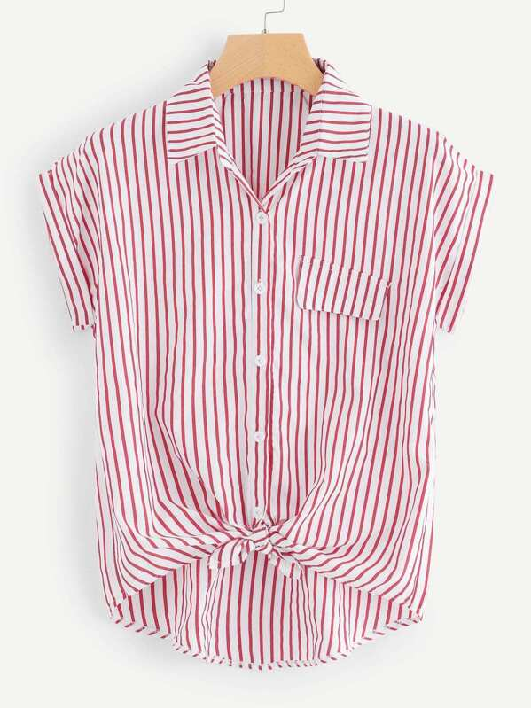 Striped Single Breasted Knot Hem Blouse, null
