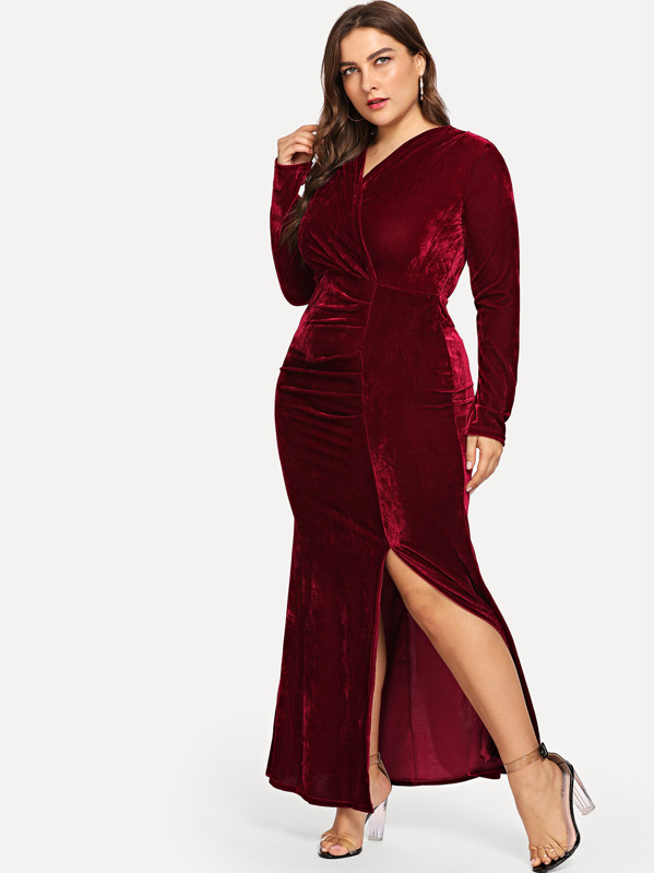 Plus Split Hem Velvet Dress, Franziska