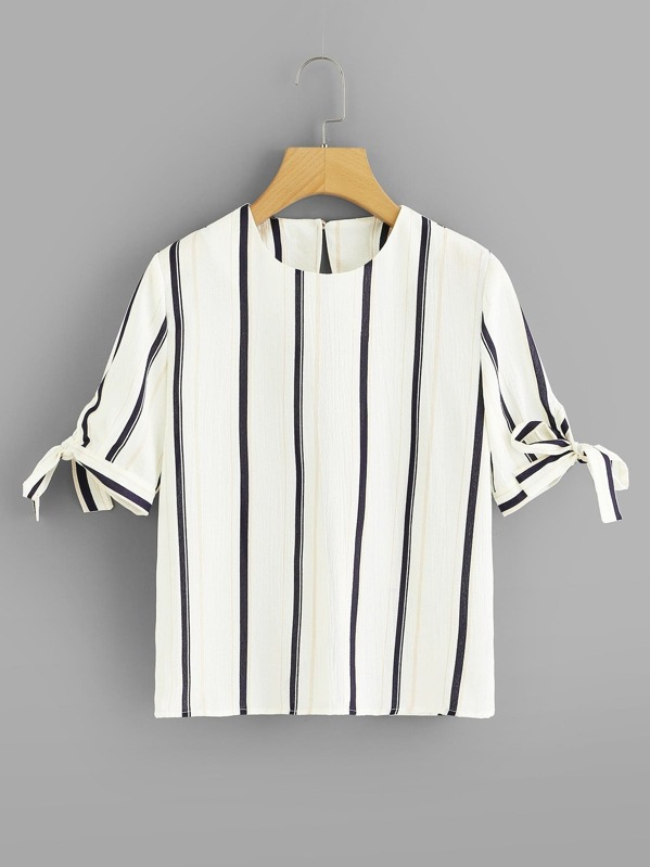 Striped Knot Sleeve Blouse, null