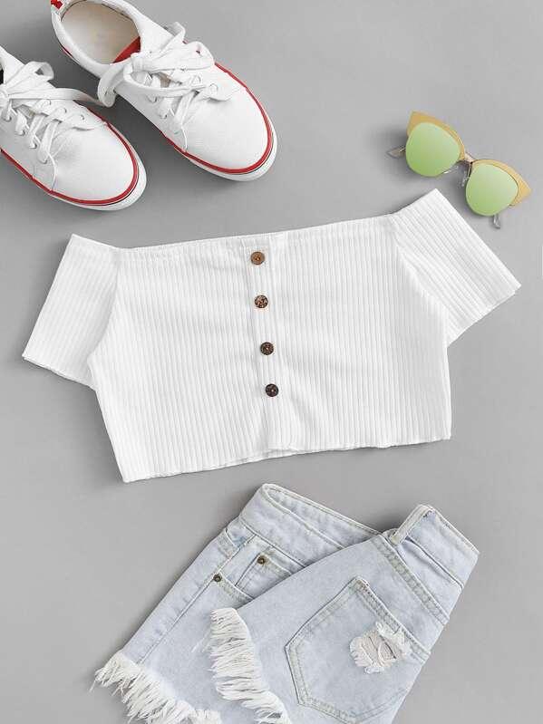 Button Front Rib-Knit Bardot Crop Top