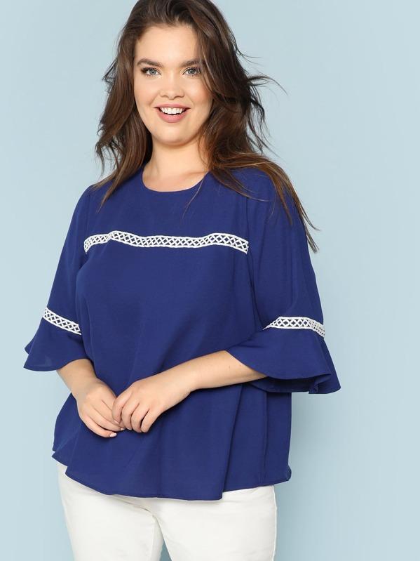 Plus Lace Applique Bell Sleeve Top, Faith Bowman