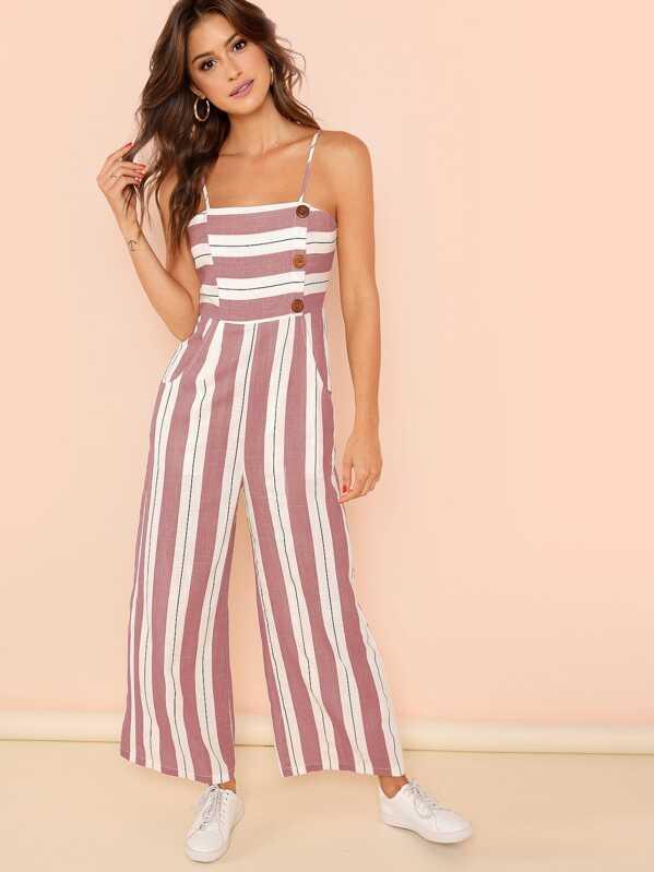Striped Print Wide Leg Cami Jumpsuit, Noelle Brown