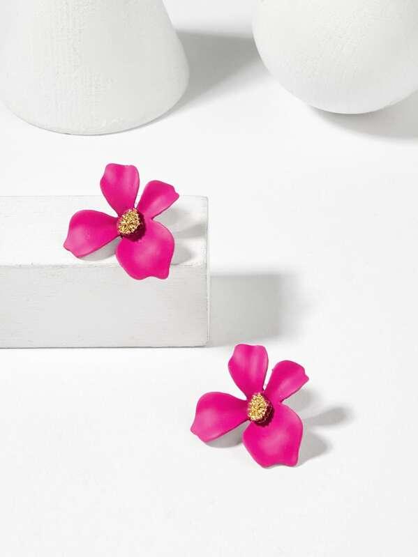 Neon Pink Flower Shaped Stud Earrings 1pair
