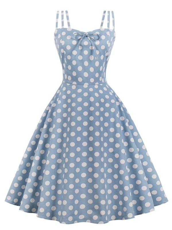 Polka Dot Knot Front Zip Back Flare Dress, null
