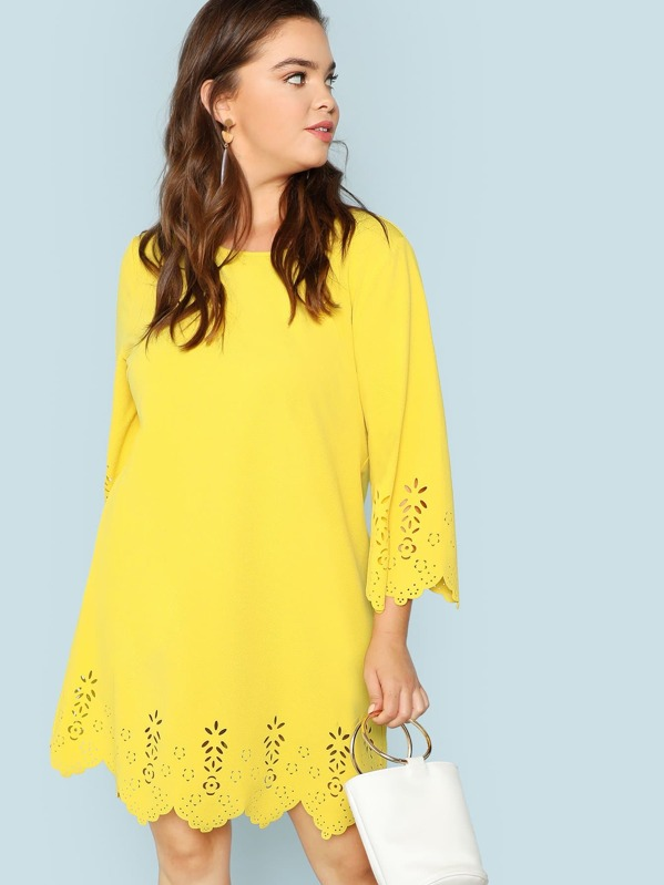 Plus Scallop Edge Laser Cut Tunic Dress