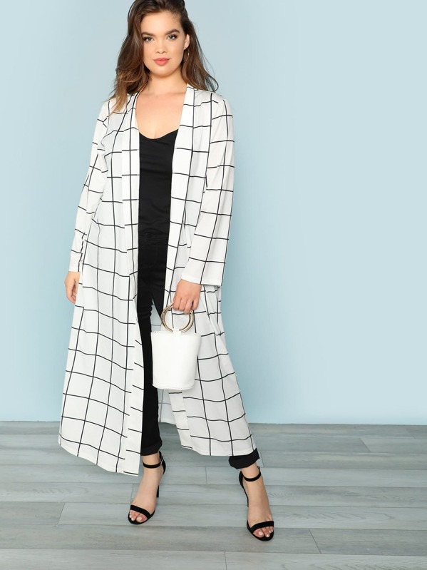 Plus Grid Print Longline Coat, Faith Bowman