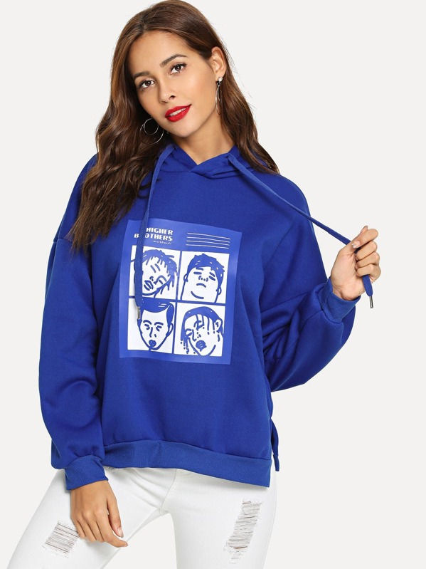 Figure Graphic Hooded Sweatshirt, Blue, Giulia