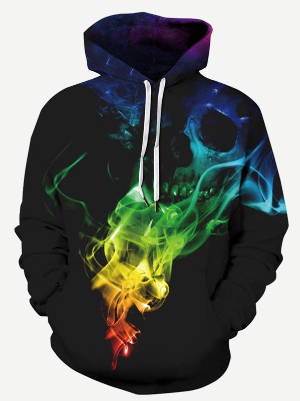 Men Colorful Smoke Print Hooded Sweatshirt, null